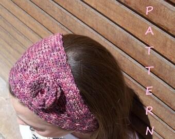Headband knitting pattern + Free Knitting Scarf Pattern. Flower headband. PDF 013.