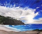 Special Listing for Natasha - Landscape Painting of CA Beach original acrylic 18 x 24