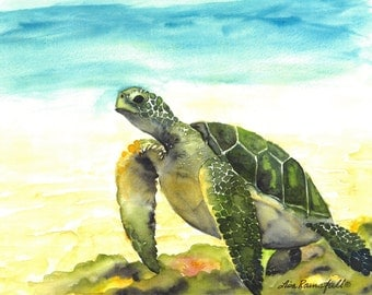 Turtle Swimming Watercolor Print
