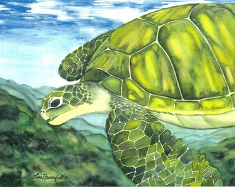 "Watercolor Turtle Print ""Nani Honu"""