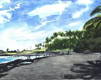 Original Watercolor Hawaiian Black Sand Beach Punalu'u
