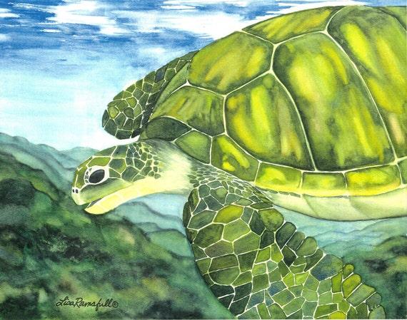 "Watercolor Turtle Print ""Nani Honu"""