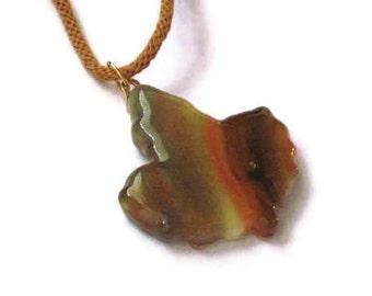 Autumn leaf pendant necklace - fused glass - kumihimo braid cord