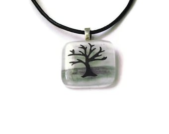 Fused glass pendant - winter tree silhouette - black and white