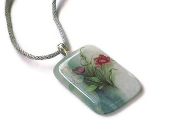 Tulip necklace - fused glass pendant - with kumihimo braid cord