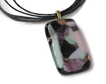 Collage necklace - fused glass pendant - black and pastels