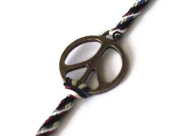 Peace symbol bracelet - large kumihimo braid - ON SALE