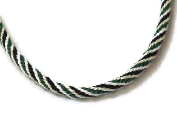 Kumihimo braid necklace - black, green, ivory, white - easy toggle clasp - for him or her