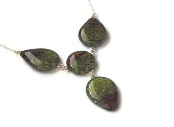 Fused glass necklace - large earth tones tear drops