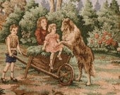 Vintage Tapestry Wall Rugs Set of two, kids and dog, 25x17,5 inches