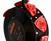 Vinyl record clutch made with two singles - Black with hot red satin flowers