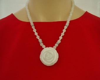 White Jade Flower Necklace