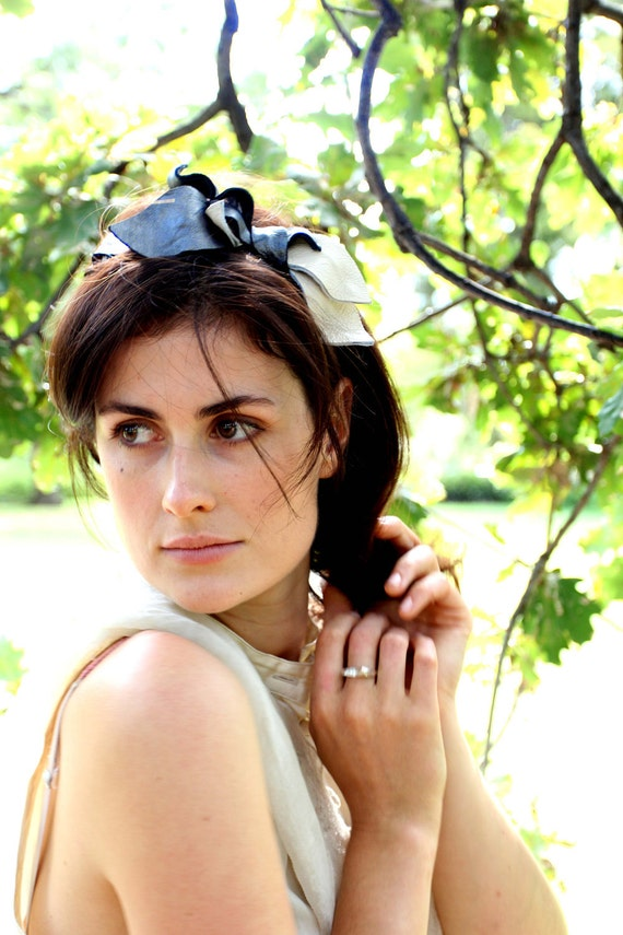 Black, Cream & Gunmetal Leather Leaves Headband