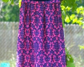 Vintage Sleeveless Velvet Blue and Pink 1970s Dress Size 2