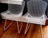 RESERVED Mid-Century MODERN: White Bertoia Chairs Set of 2
