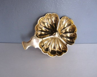 Vintage Brass Three Shell Bowl Tray