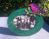flippin sweet Emerald glitter photo frame with sparrow accent