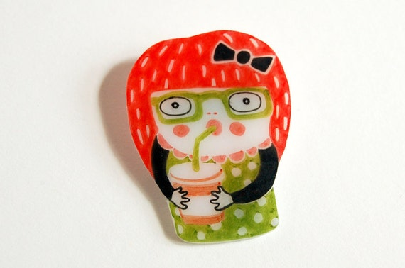 HELEN - shrink plastic brooch
