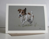 Jack Russell Terrier cute dog card 'Hairy fun' from an original soft pastel sketch