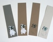 Set of four cute Jack Russell Terrier dog recycled bookmarks