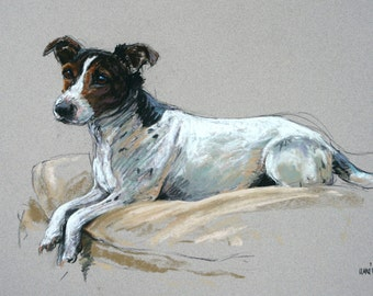 Jack Russell Terrier dog art dog print limited edition fine art print 'Relaxed' from an original soft pastel drawing
