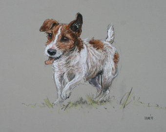 Jack Russell Terrier comical cute dog LE fine art print 'Hairy fun' from an original soft pastel