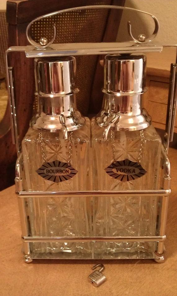 SALE Vintage Mad Men Liquor decanter set with silver label glass metal holder SALE