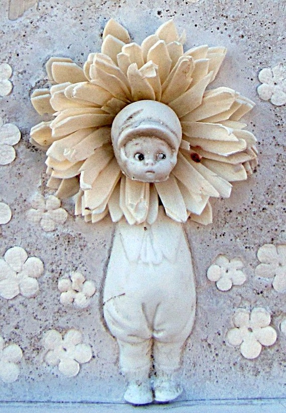 Mixed Media Antique Doll Flower Art Shadow Box Collage Assemblage Wall Plaque