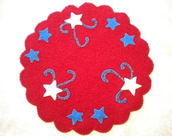 Sale Red Star Wool Candle Mat