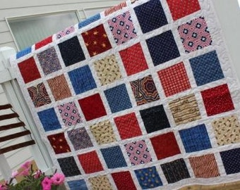 Sale Patchwork Lap Quilt-Patriotic Red, White and Blue