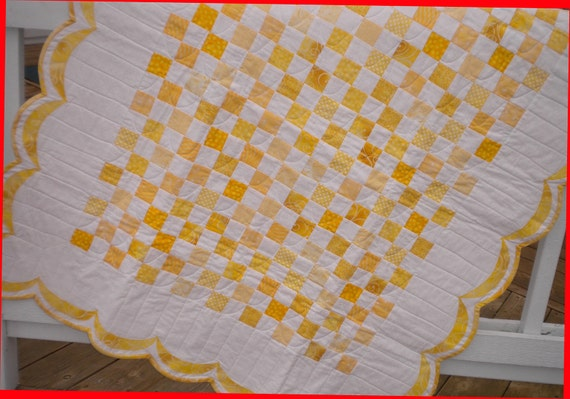 Sale Baby Quilt-Yellow and White Scallops