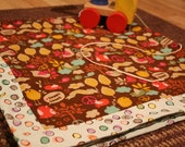 Swaddling blankie - double sided cotton and flannel in Sweet Peace