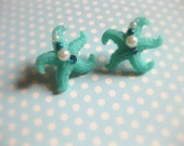 Mermaid // TEAL // Starfish Earrings With Pearls & Swarovski