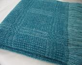 Handwoven Wool Blanket 'Blue Ocean'