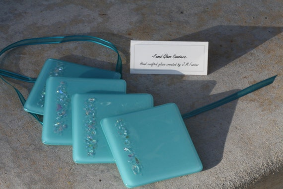 Fused Glass Coasters- Turquoise (Set of 4)