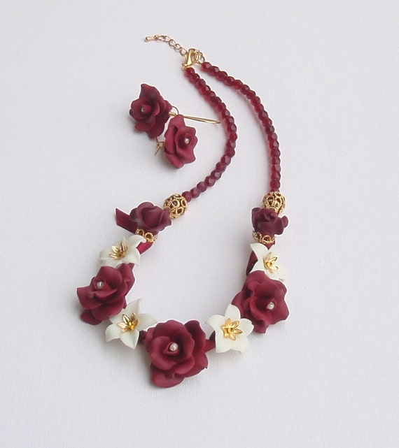Bordeaux necklace and earrings - Flower jewelry - Handmade