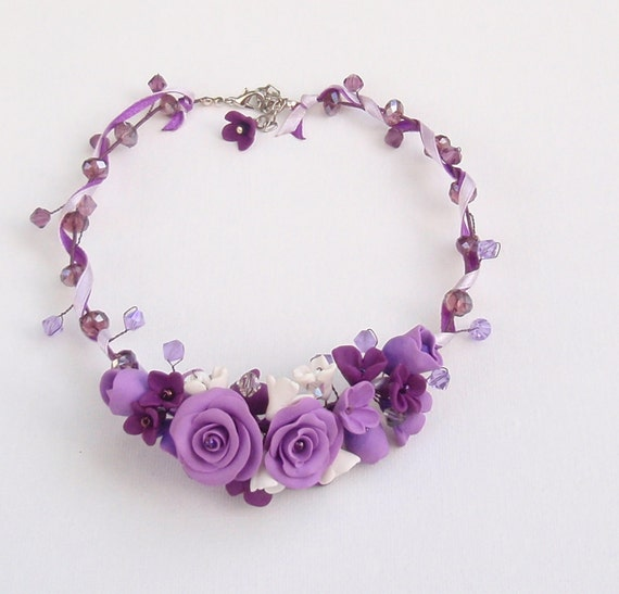 Purple necklace - Flower necklace - Handmade jewelry
