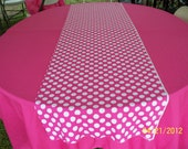 "44"" X 90"" Rectangle Hot Pink Table Cloth and One 12"" X 44"" Pink with White Polka Dot Runner Set"