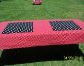 "Mickey Mouse Red with Small White Polka Dot Birthday Rectangle Tablecloth 44"" X 90"" and Two Black with White P.D Table Toppers 18"" X 20"""