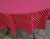 "60"" Red with Small White Mickey Mouse Polka Dots Round Table Cloth Only"