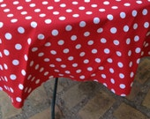 "60"" Dr Seuss Red with White Medium Sized Polka Dots"