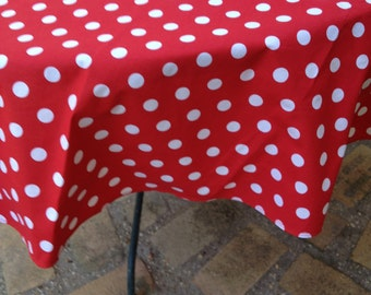 "44"" X 108"" Rectanglar Mickey Mouse Red with White Polka Dots Table Cloth. It will fit your 8' foot table."