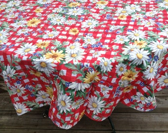 """SALE!! SALE!! Last One 60"""" Round Red with Flowers Table Cloth"""
