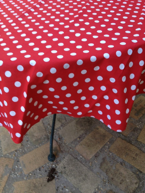 "44"" X 90"" Rectangle Elmo Red with White Medium Sized Polka Dots Table Cloth Only"
