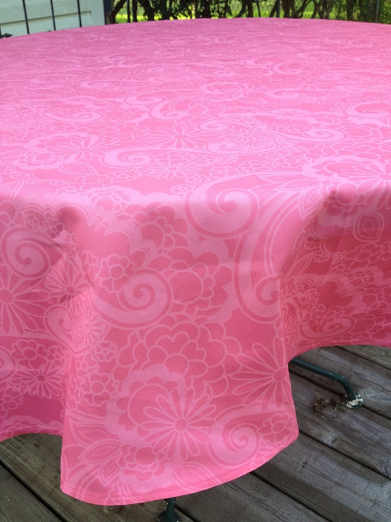 """60"""" Round Scroll Peachy Pink Table Cloth Only One"""
