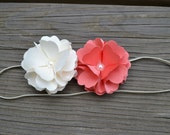 Double Puff Flower Headband - Ivory - Coral - Pearl Embellishment - Baby Girls - Photography Prop - Infant