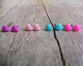 4. Set of 4. Tiny Pastel Heart Stud Earrings  Purple Pink Blue Light Pink