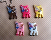 Choose Color. Bold and Colorful Baby Deer Keychain /Necklace with rhinestones