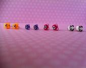 TINY. 4. Set of 4. Bear & Panda Bear Stud Earrings.  Yellow, Pink, and Purple Bear and Panda Bear.