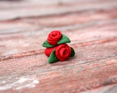 Handmade polymer clay Flower rose plugs 8g and up cute